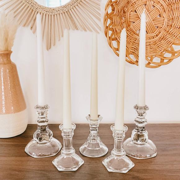 Vintage White Tapered Crystal Candlestick Set Boho